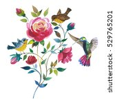 wildflower rose flower with... | Shutterstock . vector #529765201