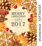 christmas card with mulled wine ... | Shutterstock .eps vector #529766335