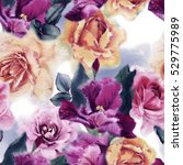 seamless floral pattern with... | Shutterstock . vector #529775989