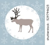 christmas card reindeer blue ... | Shutterstock .eps vector #529794625