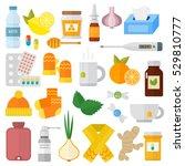 influenza flu icons vector set. | Shutterstock .eps vector #529810777