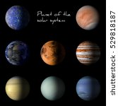 set of solar system planets on... | Shutterstock . vector #529818187