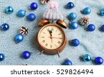 christmas alarm clock on a blue ... | Shutterstock . vector #529826494