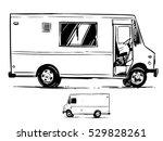 mobile kitchen lunch van side... | Shutterstock .eps vector #529828261