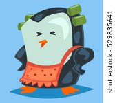 Cute Cartoon Penguin Dressed A...