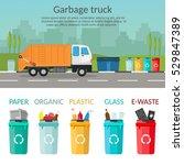garbage truck sorting bins... | Shutterstock .eps vector #529847389