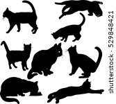 Stock vector cats silhouette collection vector 529848421
