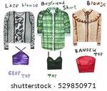 boyfriend shirt  lacy blouse ...   Shutterstock . vector #529850971