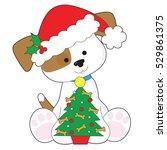 a cute little puppy wearing a...   Shutterstock .eps vector #529861375