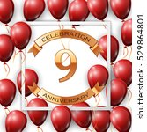 realistic red balloons with... | Shutterstock .eps vector #529864801