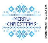merry christmas postcard .... | Shutterstock .eps vector #529865125