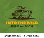 camper van car logo on green... | Shutterstock .eps vector #529865251