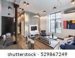 loft interior with dark kitchen ... | Shutterstock . vector #529867249