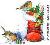 Christmas Card. Watercolor Bir...