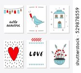 valentines day set cards.... | Shutterstock .eps vector #529878559