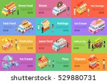 set of street food stores on... | Shutterstock .eps vector #529880731