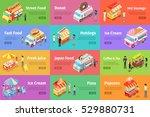 set of street food stores on... | Shutterstock .eps vector #529880731