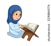 Girl Reading Quran The Holy...