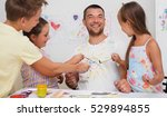 portrait of a cute happy father ... | Shutterstock . vector #529894855