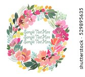 Card  Banner With Floral Wreat...