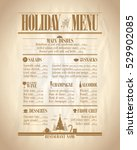 holiday menu list with dishes... | Shutterstock .eps vector #529902085