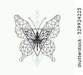 vector graphical butterfly... | Shutterstock .eps vector #529924225