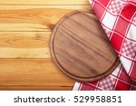 pizza board with napkin on... | Shutterstock . vector #529958851