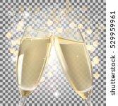 glasses of champagne full and... | Shutterstock .eps vector #529959961