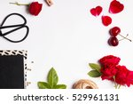 red cherries  roses and other... | Shutterstock . vector #529961131