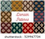 damask patterns set. vector... | Shutterstock .eps vector #529967734
