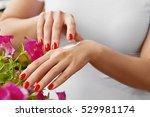 woman hands with cream. closeup ... | Shutterstock . vector #529981174