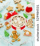 hot sweet cocoa with... | Shutterstock . vector #529984531
