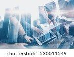 double exposure of young... | Shutterstock . vector #530011549