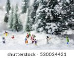 miniature snowman and people... | Shutterstock . vector #530034421