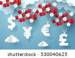 group of currency sign hanging... | Shutterstock .eps vector #530040625