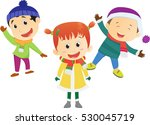 winter fun. happy kids wearing... | Shutterstock .eps vector #530045719