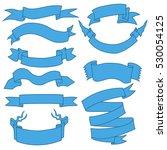 vector set of blue ribbons for... | Shutterstock .eps vector #530054125