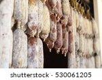 close up of hanging salami... | Shutterstock . vector #530061205