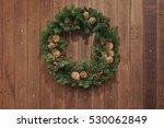 christmas decoration wooden... | Shutterstock . vector #530062849