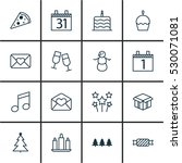 set of 16 holiday icons. can be ... | Shutterstock .eps vector #530071081
