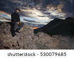man wearing a black wool... | Shutterstock . vector #530079685