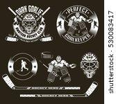 hockey emblems with goalkeeper... | Shutterstock .eps vector #530083417