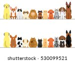 Stock vector cats and dogs border set front view and rear view 530099521