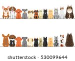 cats and small dogs border set  ... | Shutterstock .eps vector #530099644