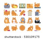 Stock vector business commerce finance cat icons 530109175