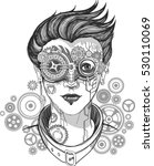 steampunk girl  monochrome... | Shutterstock .eps vector #530110069