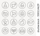 holidays thin line icon set | Shutterstock .eps vector #530114629