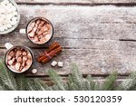 two mugs of hot chocolate with...   Shutterstock . vector #530120359