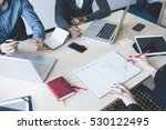 top view of an office desk with ... | Shutterstock . vector #530122495