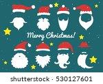 vector. santa hats  moustache... | Shutterstock .eps vector #530127601
